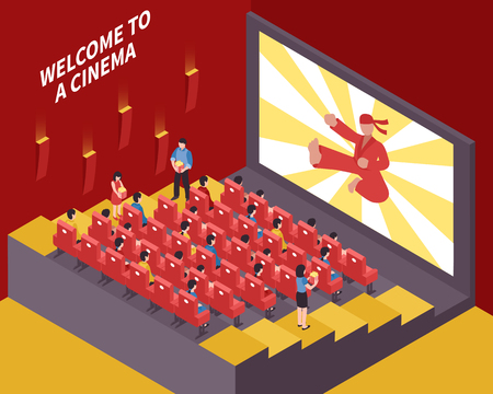 Isometric cinema movie theater indoor composition with cinema hall and rows of seats with sitting people vector illustration