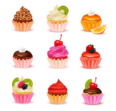 Heldere realistische cupcakes met verschillende vullingen assortiment set geïsoleerd op witte achtergrond vectorillustratie