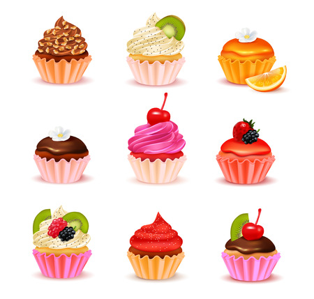 Bright realistic cupcakes with various fillings assortment set isolated on white background vector illustration