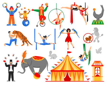 Цирк исполнителей артистов актеров показывают набор плоских изолированных воздушных акробатов уравновешивающих клоунов животных укротителей символов векторной иллюстрации Иллюстрация