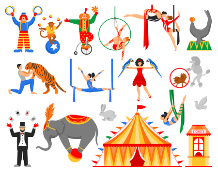 Circus performers artists actors show set of flat isolated air acrobats equilibrists clowns animal tamer characters vector illustration