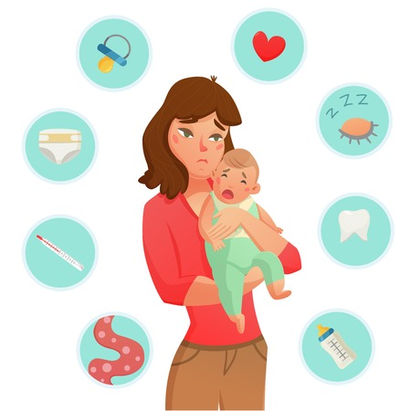 Colored crying baby reasons composition with round icon set that list the why he is crying vector illustration Stok Fotoğraf - 79065349