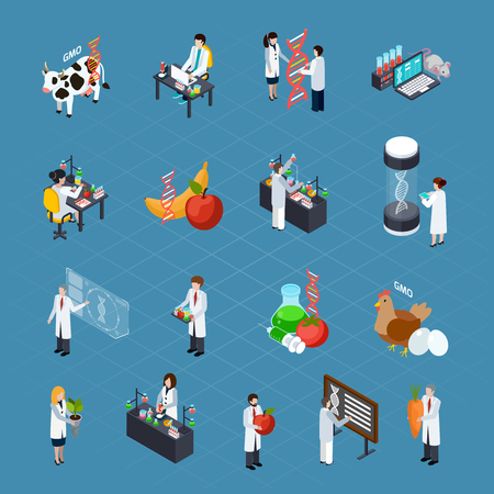 GMO related icons set with researchers conducting scientific experiments dna signs genetically modified products and home animals isometric vector illustration
