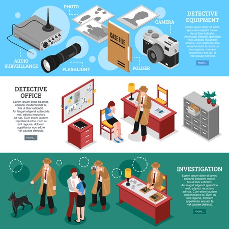 Detective horizontal banners set with isometric office furniture spying equipment and plainclothes man character with text vector illustration