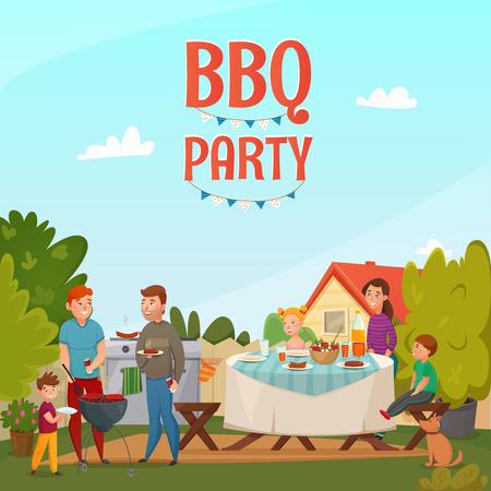 その家のベクトル図の裏庭で家族と一緒に色漫画バーベキュー パーティー ポスター  イラスト・ベクター素材