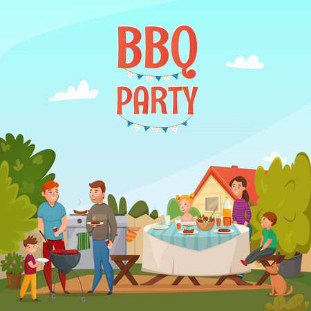 Colored cartoon barbecue party poster with family in backyard of their house vector illustration