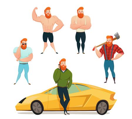 Set di icone decorative isolate mostrando sexy potenti uomini brutali con grandi muscoli e la barba rossa illustrazione vettoriale piatto Vettoriali