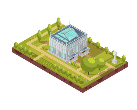 Isometric layout of classic university building with glass roof, green park and monument 3d vector illustration 向量圖像