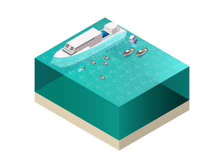 drowned: Rescue service team saving people near drowning ship isometric composition on white background 3d vector illustration Illustration