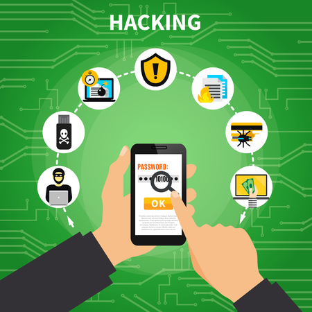 Hacking design composition with human hands holding password protected smartphone and malicious software symbols around cartoon vector illustration