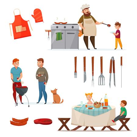 L'icona colorata ed isolata del partito del barbecue ha messo con i pasti arrostiti e il capo sta cucinando l'illustrazione di vettore Archivio Fotografico - 79065362