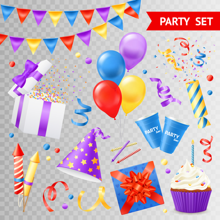 Colorful objects for parties and holidays set isolated on transparent background flat vector illustration Illustration