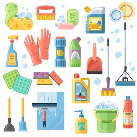 Auswahl von Reinigungs-Zubehör Werkzeug-Zubehör flache Icons Set mit Gummi-Handschuhe Schwamm Bürsten Waschmittel Vektor-Illustration