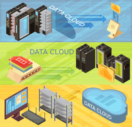 Set of horizontal isometric banners with data cloud, information transfer, router, hosting servers, computer isolated vector illustration Illustration