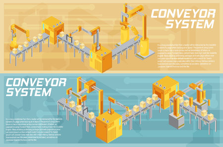 Isometric horizontal banners with conveyor system including welding and packaging on textured background isolated vector illustration