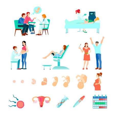 midwifery: Colored isometric midwifery obstetrics gestation icon set with stages of pregnancy and seeing a doctor vector illustration