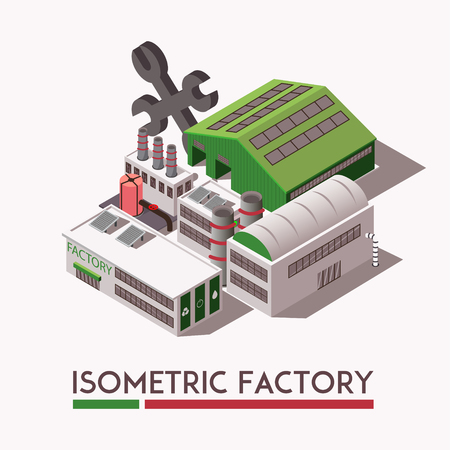 Grey and green factory industrial isometric buildings set on light background 3d vector illustration Illustration