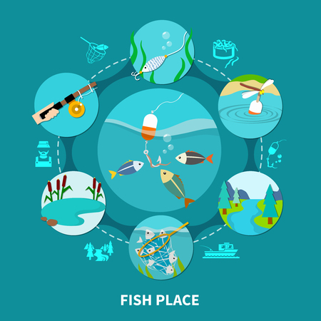 Fishing composition of round fishing area and gear images connected by dashed lines with silhouette icons vector illustration