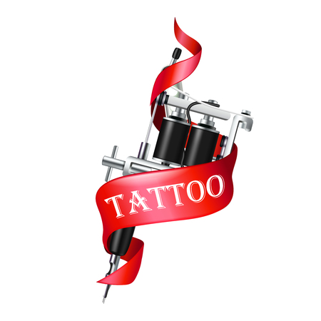 Realistic tattoo machine with red ribbon on white background vector illustration