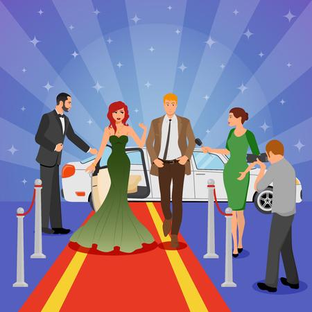 Het ontwerpsamenstelling van de beroemdheid met jonge vrouw in avondjurk op rood tapijt witte limousine en interviewende journalisten vlakke vectorillustratie