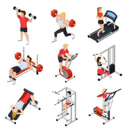 Sistema isométrico del gimnasio y de la gente con los símbolos de la aptitud aislados ilustración vectorial