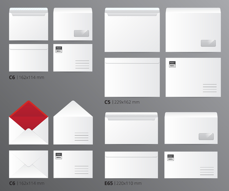 Paper office template set of realistic mail envelopes sorted by letter size with appropriate text captions vector illustration