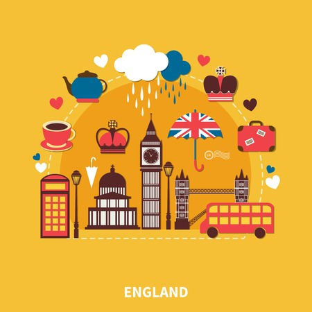 England landmarks design concept with traditional symbols of architecture and culture flat vector illustration