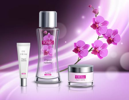 Organic cosmetics skincare products realistic composition  advertisement poster with natural flowers extract  tonic vibrant violet background vector illustration Illustration