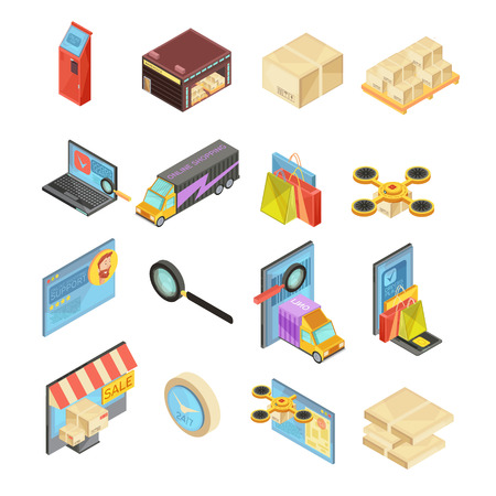 internet search: Internet store isometric set with search of goods, warehouse, delivery tracking, online payment, package isolated vector illustration