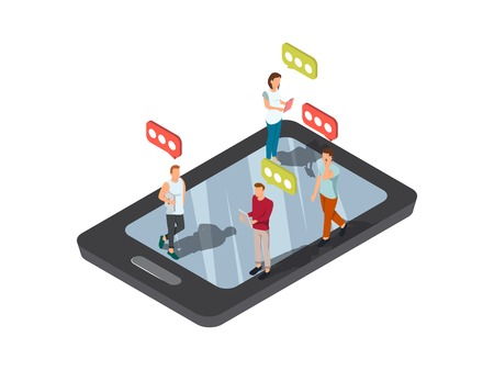 woman cellphone: Gadgets people social composition with isometric image of smartphone and human figures on top of screen vector illustration