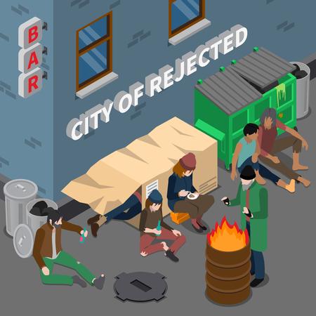 Isometrische Komposition mit Lifestyle von Obdachlosen, einschließlich Schlaf in der Box in der Nähe von Müll Alkoholabhängigkeit Vektor-Illustration