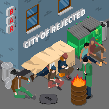 Isometric composition with lifestyle of homeless people including sleep in box near trash alcoholic addiction vector illustration
