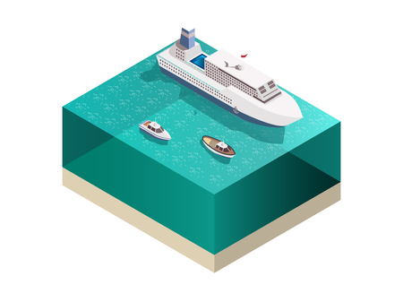 Ships tourists composition with isometric image of water and passenger ocean-going ship with cruisers awash vector illustration