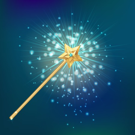Golden magic wand decorated with star on night sky and bright flares background realistic vector illustration