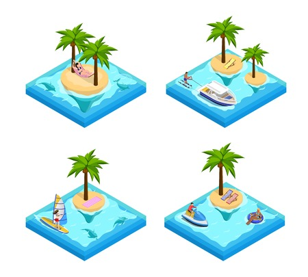 Island vacation isometric set with palm and beach isolated vector illustration
