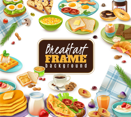 Breakfast frame with coffee juice sandwiches and sweet dishes tableware and napkins on white background vector illustration