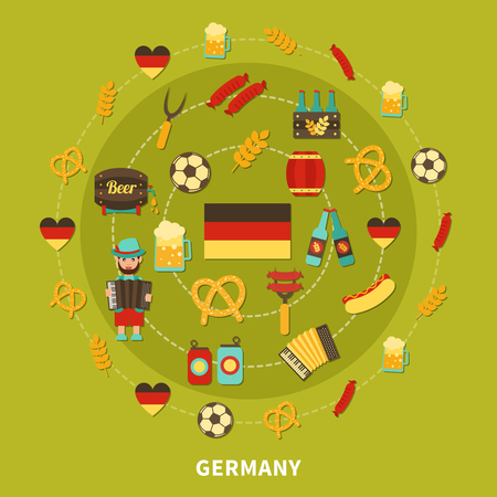 Travel composition of flat isolated germany traditional food and drinks emoji style images and national symbols vector illustration Illustration