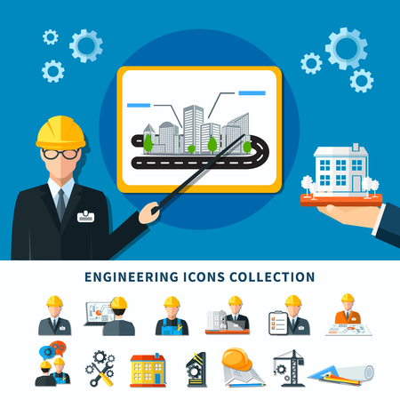 Engineering icon set with isolated maintenance and construction emoji style images with project presentation conceptual composition vector illustration