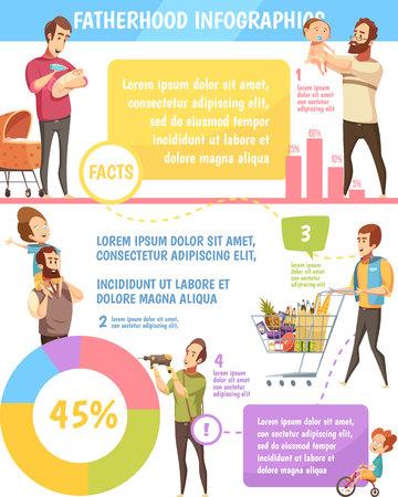 아버지 일 가족 균형 레트로 만화 infographic 포스터 가정과 자녀 양육 시간 지출 분포 벡터 일러스트 레이션