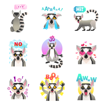 Lemur emotions set of similar flat isolated cartoon macaco character emoticons with decorative signs and text vector illustraton