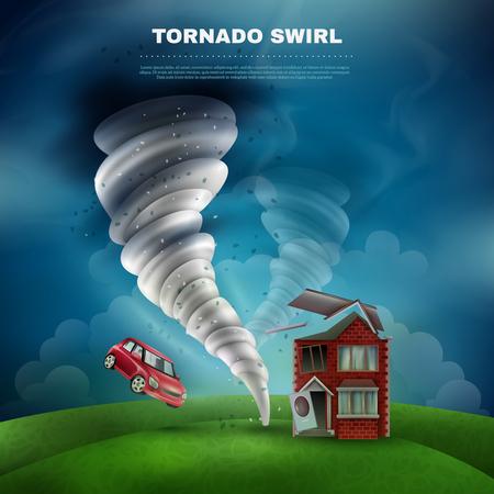 Tornado conception de catastrophe naturelle, y compris la maison avec la porte de toit cassé et la fenêtre, volant, voiture, poussière, vecteur, illustration