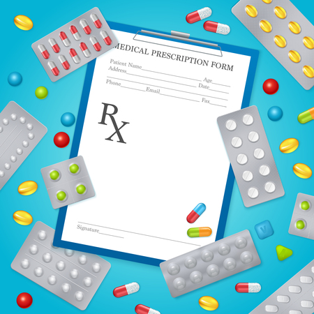 Medical prescription form realistic background poster with aluminum foil drugs pills packages and separate tablets vector illustration Illustration
