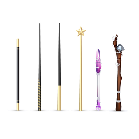 白い背景ベクトル図に分離された別のサイズとデザインの現実的なセットのカラフルな魔法の杖