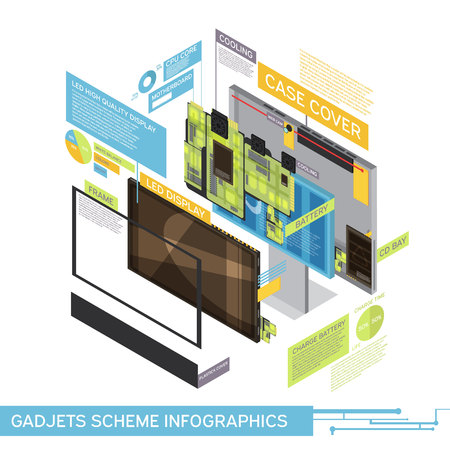 One gadget scheme infographics with case cover battery cd bay led display descriptions vector illustration Illustration