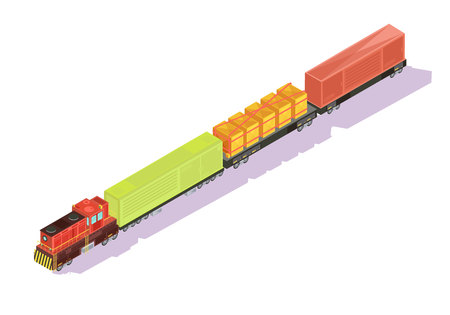 Trains isometric set of freight train with goods and cattle cars on blank background with shadows vector illustration Illustration