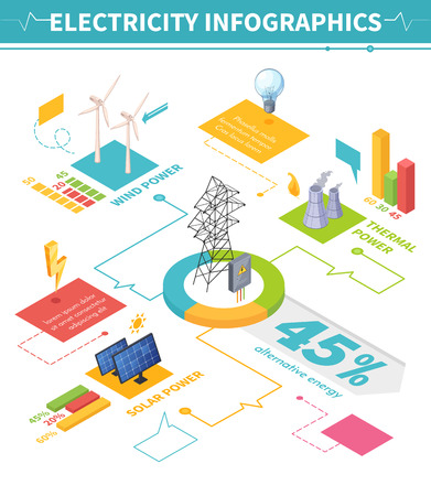 Electricity isometric infographics with image compositions representing traditional and different schemes for energy production with text vector illustration Illustration