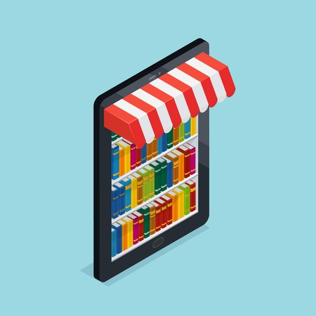 Online bookstore design including bookshelves at mobile device with striped awning on blue background isometric vector illustration