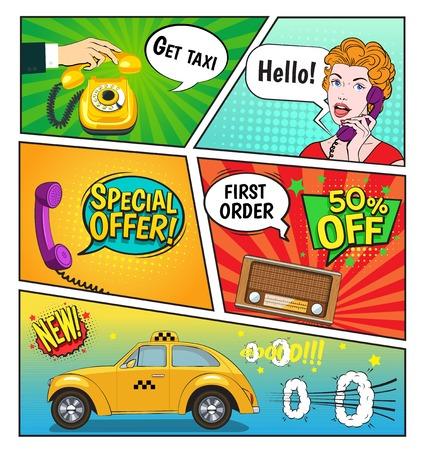 Reclame voor stripboekpagina van de taxi-service inclusief kortingen op spraakbellen, vrouw met telefoon, radio vectorillustratie