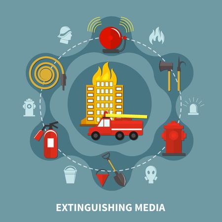 Burning building and firefighting extinguishing media concept on grey background flat vector illustration Illustration