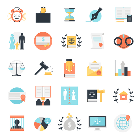 Law icon set of twenty five flat isolated colorful image compositions with conceptual legal profession signs vector illustration Illustration